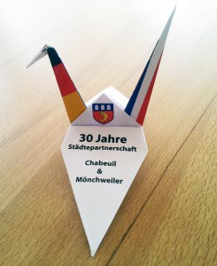 NotaSwan | Origami crane | Place card | 30 years Chabeuil & Mönchweiler